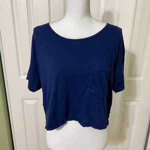 American Apparel Crop Top Navy Blue One Size